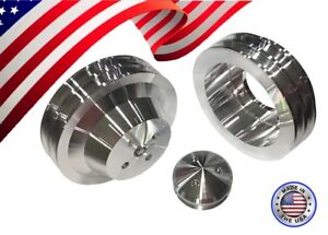 Small Block Ford 289 302 351w Double Groove Pulley Kit With 4 Bolt Dampener Sbf