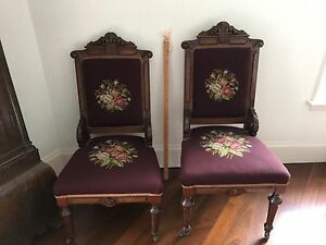 Pair Of Antique Walnut His Hers Needlepoint Upholstered Chairs Eastlake Style
