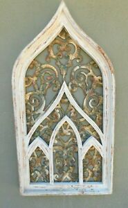 Wooden Antique Style Church Window Frame Primitive Wood Gothic 32 1 2 Shabby
