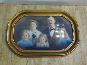 Vintage Wood Picture Frame With Convex Glass