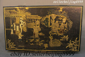 12 Chinese Dynasty Wood Lacquerware Carved Storage Jewelry Box Chest Bin Statue