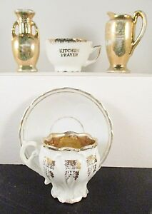 Vintage Japan Gold Lusterware Porcelain Vases Tea Cups Miniatures Lot