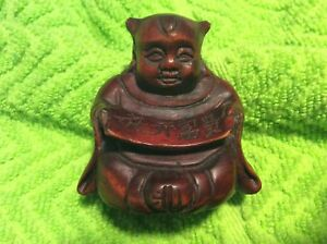 Netsuke Signed Wood Hand Carved Unique Praying Buddha With Scroll