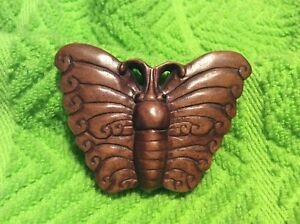 Netsuke Vintage Signed Wood Hand Carved Butterfly Onyx Or Glass Eyes