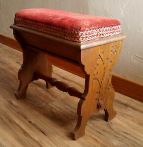 Antique Victorian 19th C Spoon Carved Red Velvet Piano Bench Seat Compartment