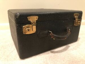 Antique Travel Small Trunk With Brass Locks Suitcase 19e