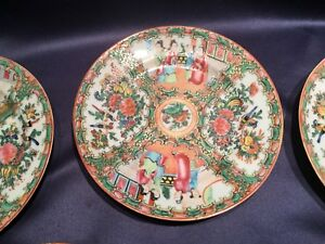 Antique 19c Set Of 5 Chinese Export Rose Medallion Plates 7 1 4 People Birds
