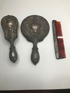 Antique Gorham Sterling Silver Vanity Set 23 Buttercup Hand Mirror Brush Comb