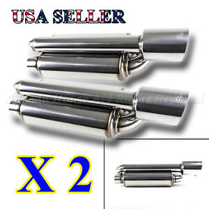 For Euro Car 2x Twin Loop Canister Style Deep Tone Sport Exhaust Muffler 4 Tip