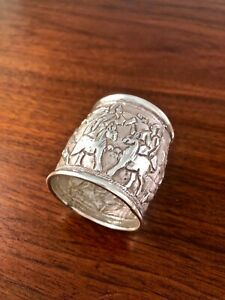 Amazing Eastern European Solid Sterling Silver Hand Carved Napkin Ring No Mono