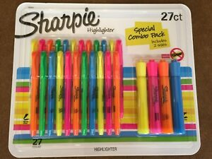 81 New Sharpie Multicolored Highlighters 3 Packs Of 27 Smear Guard 2 Sizes