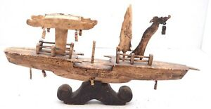 Antique Chinese Carved Bovine Bone Boat Ship Figurine Statue Vintage 13 Asian