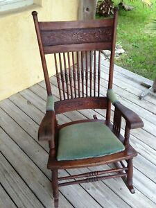 Antique Oak Press Back Rocking Chair Circa 1900