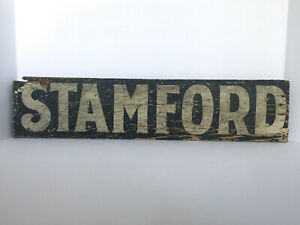 Antique New England Pine Sign Stamford Aafa