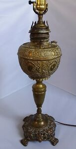 Vtg Antique Brass Oil Lamp Electrified Electric Table Lamp Floral Converted 23