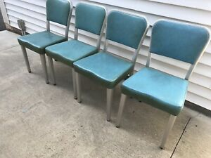 7 Vintage Mid Century Industrial Good Form Aluminum Blue Office Chairs 1950 S