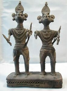 19thc Rajasthan Bronze Sculpture Of Two Warriors Or Temple Guards 7 5 H