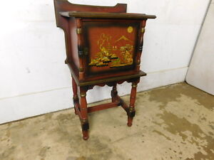 Antique 1940 Vaping Lady Scene Smoking Humidor End Table Glass Reverse Top Stand