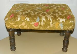 Vintage Antique Upholstered Footstool Bench 18 Long 10 1 2 Tall Wood Legs