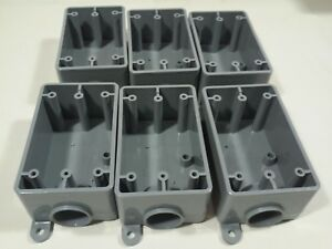 Kraloy Pvc Electrical Boxes Weatherproof 1 Gang 1 Hole 3 4 fse07 Gray lot Of 6