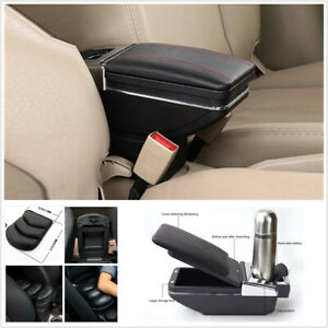 Universal Car Central Container Armrest Box Cup Holder Pu Leather Arm Rest Pad