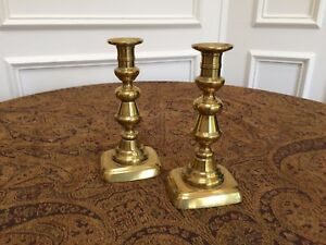 Pair Antique Victorian Genuine 8 English Brass Candlesticks With Pushers