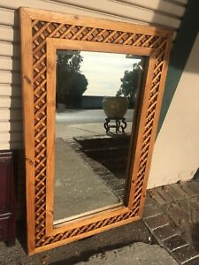 Large Rustic Carved Wood Mirror