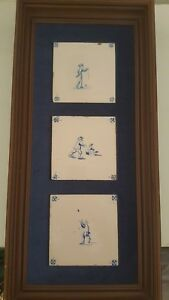 Antique Dutch 18th Century Delft Blue White Tiles Set Of 3 Framed