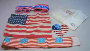 Antique Vintage Patriotic Ribbon Printed Flag Silk Lot