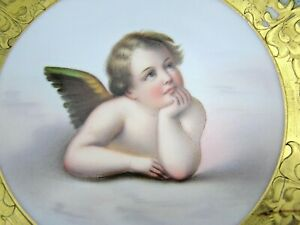 Paris French Porcelain Cabinet Plate Angel Raphael Celeste Blue Hand Painted