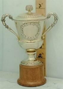 267 Small English Sterling Silver Gilt Trophy Loving Cup And Cover Gold Washed