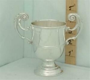 313 Small Antique English Sterling Silver Trophy Loving Cup Of Classic Design