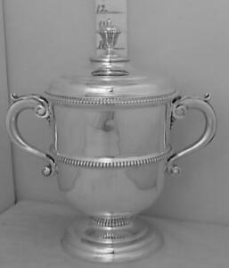 354 Large Robust English Sterling Silver Trophy Loving Cup Cover Not Inscribed