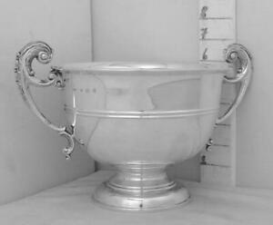 383 English Sterling Silver Trophy Loving Cup Open Bowl Type Good Handles