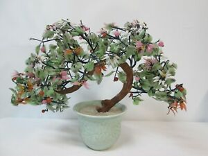 Vintage Asian Jade Agate Glass Leaves Flowers Bonsai Tree Celadon Vase 22 X15