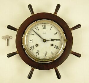 Vintage August Schatz Sohne Brass Ships Bell Clock With Key Germany