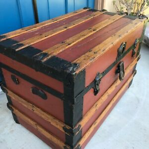 Antique Flat Top Trunk 1800s Great Coffee Table Red Storage Victorian Wood Chest