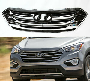 Chrome Front Bumper Hood Replacement Grill For Hyundai Santa Fe Sport 2013 2014