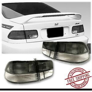 Fits 1996 1998 Honda Civic 2 Door Coupe Tail Lights Set 4 Pcs Smoke Clear