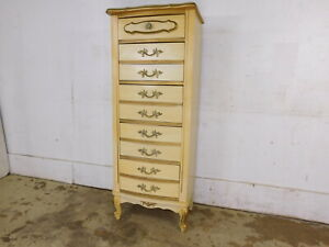 Vintage French Provincial Lingerie High Dresser Chest Scroll Feet Bonnet Dixie