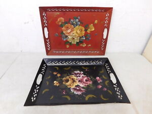 2 16x12 Rectangle Reticulated Toleware Serving Trays Red Black