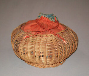 Old Antique Vtg 19th C 1880s Ladies Woven Basket Purse Handbag Very Nice