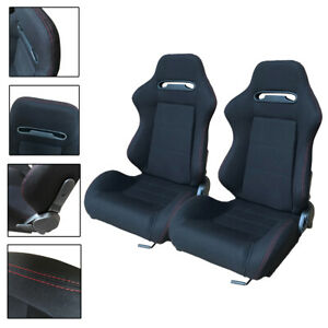 2pcs Left Right Reclinable Sports Bucket Racing Seats With Sliders Design