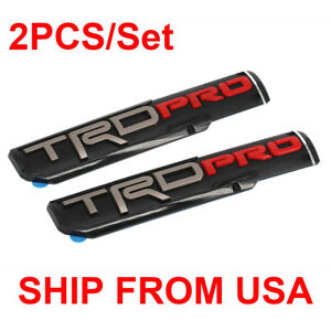 2pcs 3d Abs Molded Trd Pro Door Emblem Nameplate Sticker Badge For Toyota Tacoma