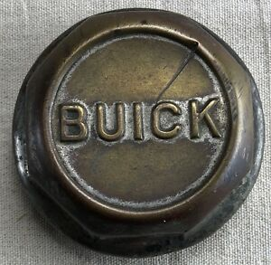 Original Buick Brass Threaded Hubcap With Block Letters