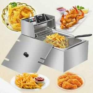 6l 2500w Electric Deep Fryer Commercial Restaurant Basket Temperature Control