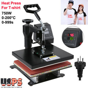750w Heat Press Machine Sublimation Transfer T shirt Print Lcd Timer Us Ship