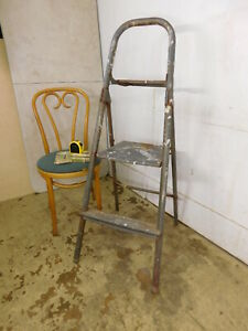 Vintage C1959 Grungie All Metal Rig Jid Pail Shelf Painters Step Ladder 48 T