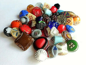 Lot 2 Of 40 Tiny Antique Glass Buttons Color Shape Size Variety