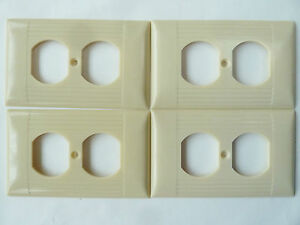 4 Vintage Sierra Ivory Bakelite Ribbed Outlet Receptacle Plate Cover Uniline Lot